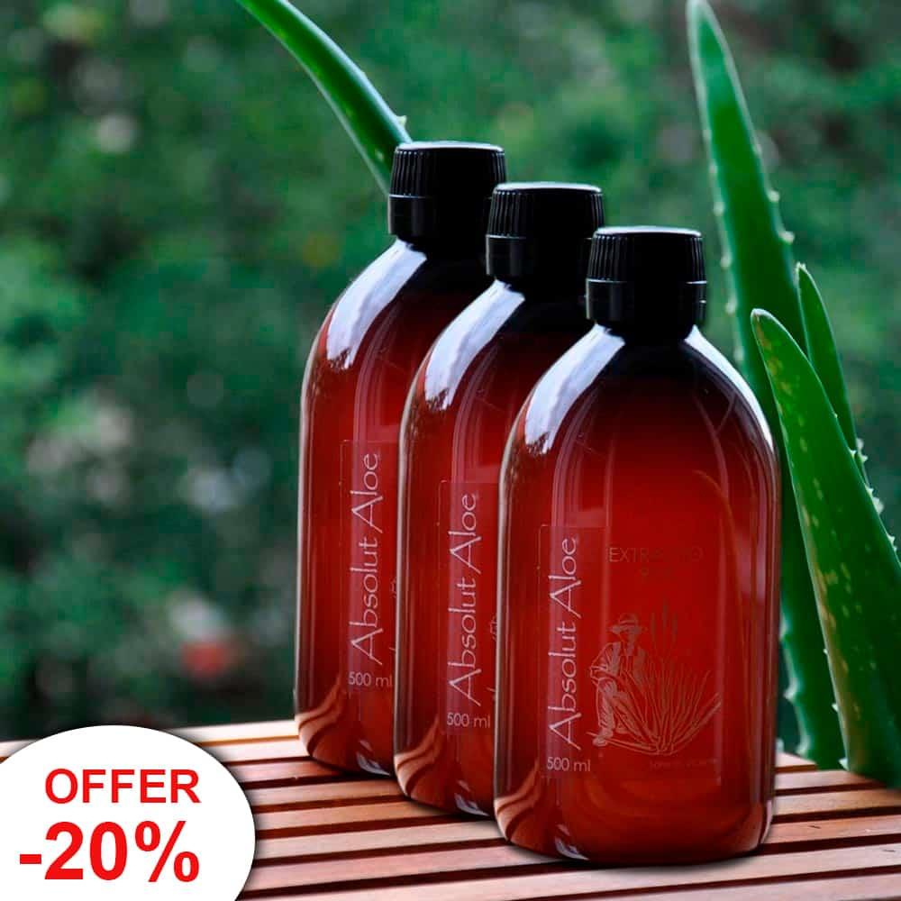 Offer 3 Bottles Organic Aloe Vera Juice Fuerteventura